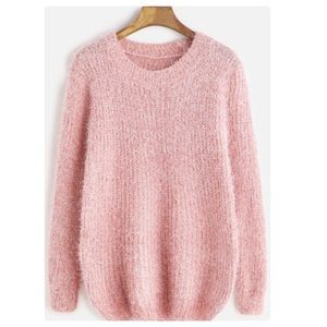 Sweaters - ASHLEY Fuzzy Sweater In Light Pink